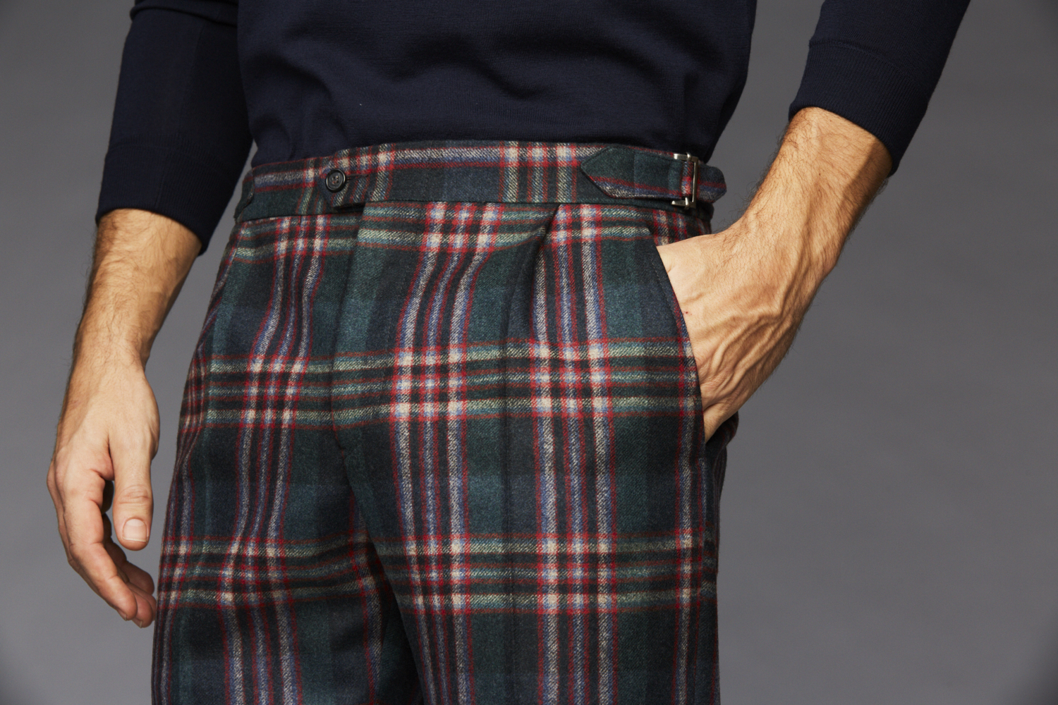 Multi-Color Plaid Trouser , straight cut with side tabs and single pleat.