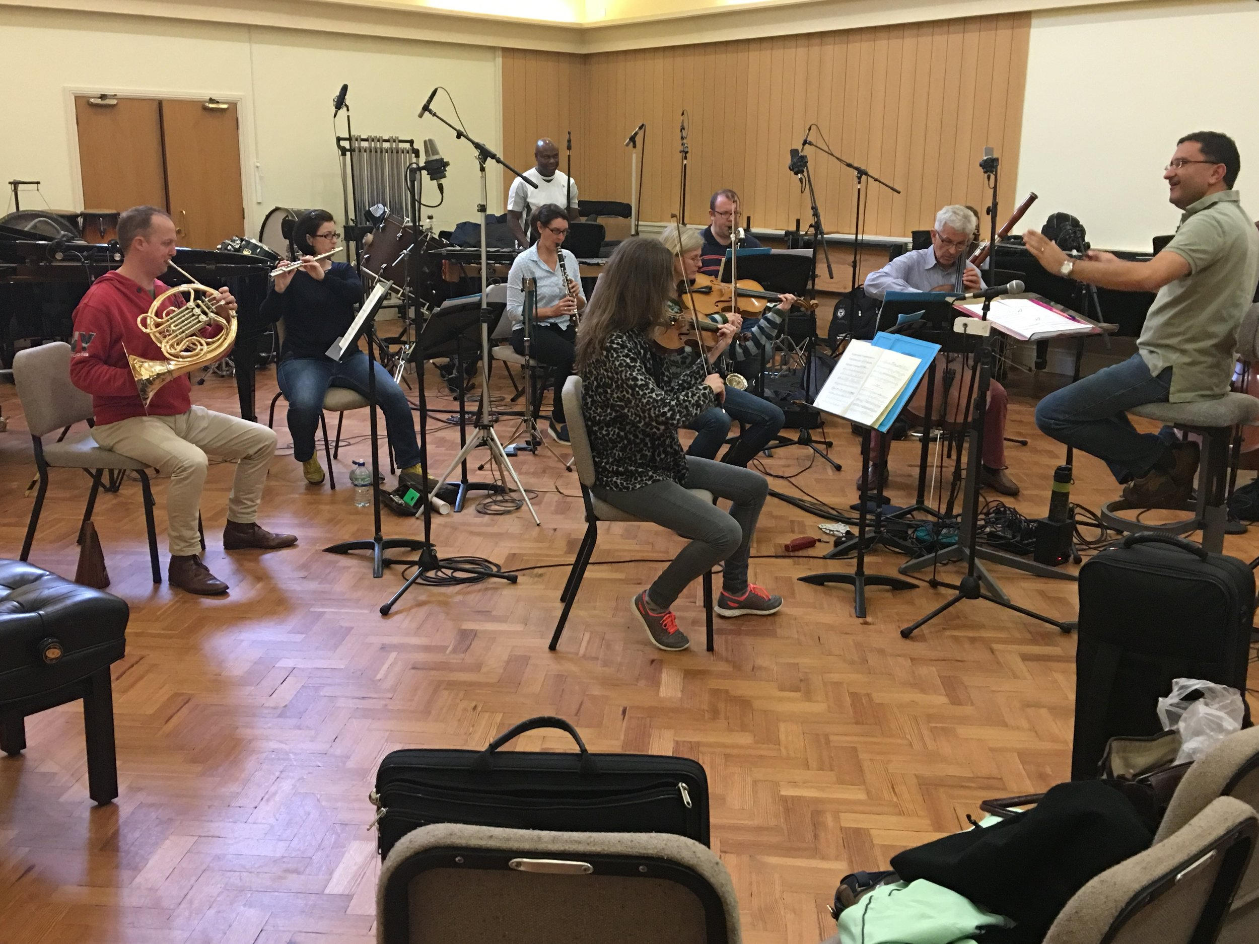 Kokoro (the new music ensemble of the Bournemouth Symphony Orchestra) in sessions for the recording of  Strip Jack Naked  with conductor Mark Forkgen