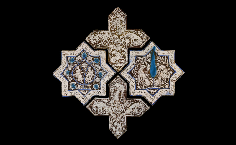 Star tiles made of painted stonepaste with an opaque glaze. Iran, probably Kashan, AD 1266-67