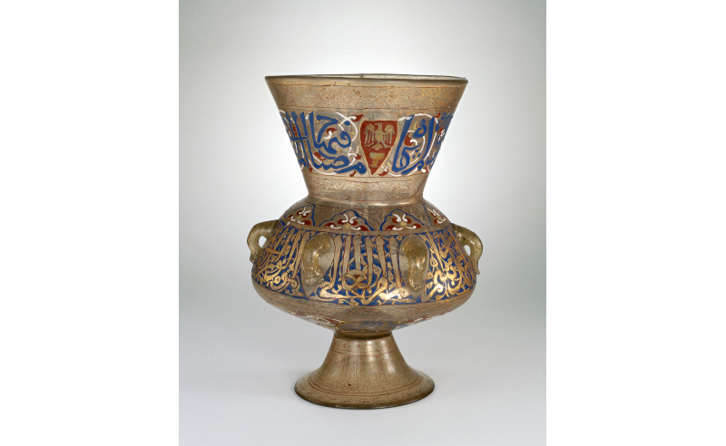 Gilded and enamelled glass lamp, Egypt or Syria, 1330-1345