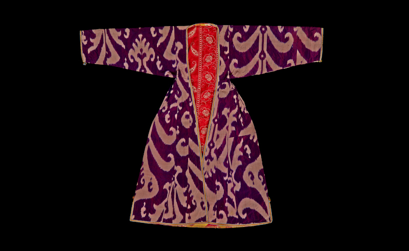 Uzbek woman's ikat coat made of cotton and silk. Uzbekistan, 1870s-1920s