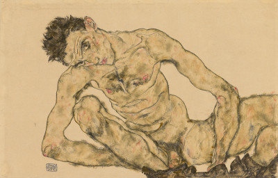 Egon Schiele, Nude Self Portrait, Squatting, 1916