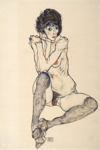 Egon Schiele, Seated Female Nude, Elbows resting on Right Knee, 1914