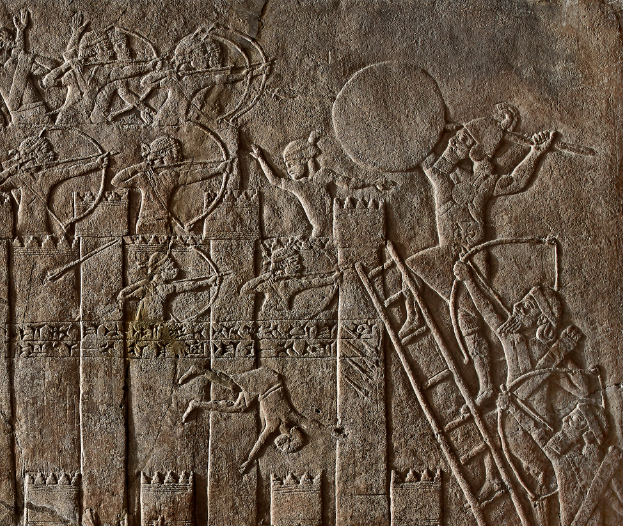 Detail of a relief showing the Assyrian siege of an Elamite fort. 645 – 635 BC.