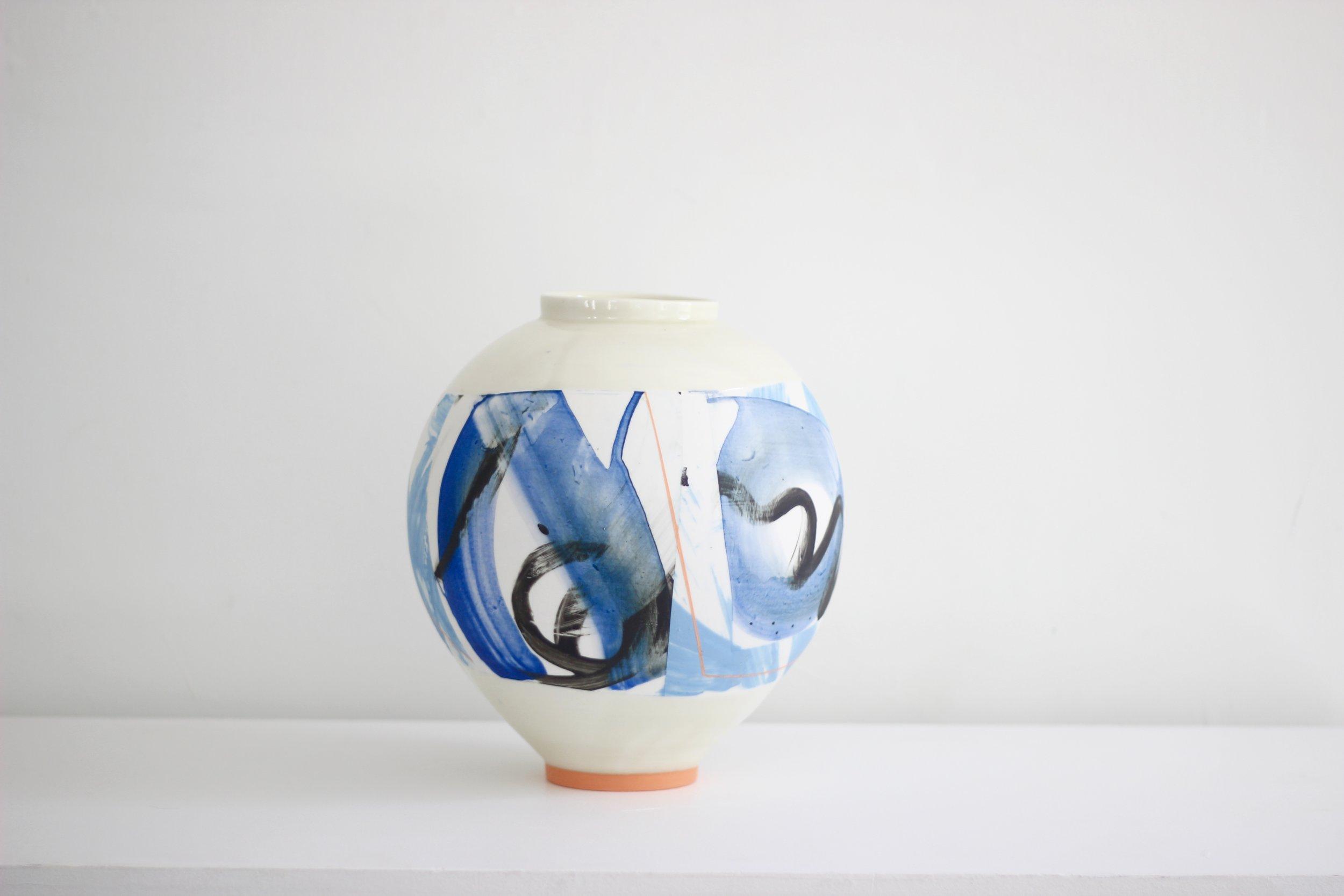Adam Frew - Medium ceramic pot with orange foot28 x 28 cm