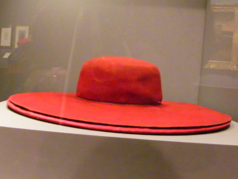Cardinal Wolsey's hat, in red silk and felt