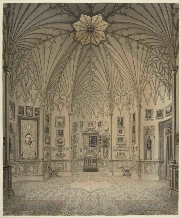 The Tribune at Strawberry Hill House, Watercolour by John Carter
