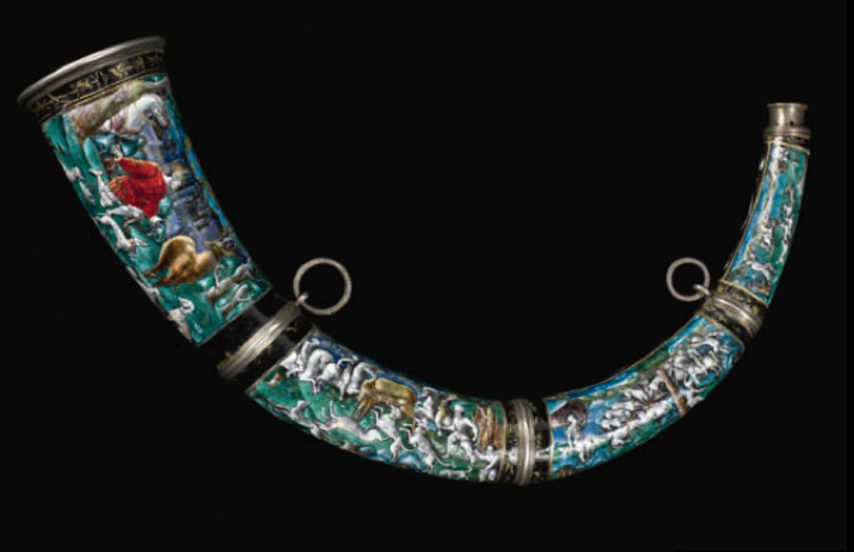 Limoges Hunting horn depicting the conversion of St. Hubert in the forest.