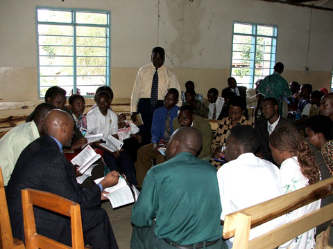 Teaching Bible study at Sabbath School in Kumasi, Ghana.