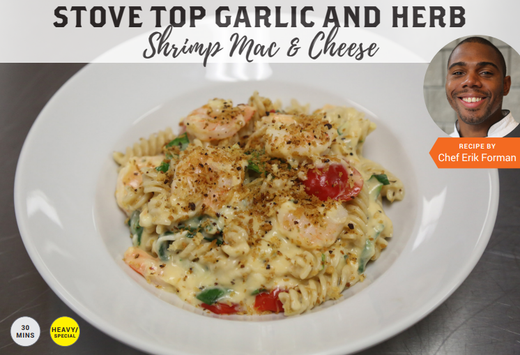 Comfort food... - This creamy and cheesy stove-top mac with juicy shrimp and all the great fixins adds a heartfelt comfort touch to your next family dinner. Serves 8.
