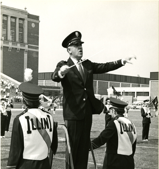 Harry Begian conducting the Marching Illini (Fall 1972). Harry Begian Papers, 1926-97. Sousa Archives and Center for American Music, University of Illinois at Urbana-Champaign.