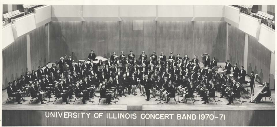 University of Illinois Concert Band, Harry Begian, Conductor (1971). University Bands Collection, circa 1840-1997 (Box 40, Folder 3). Sousa Archives and Center for American Music, University of Illinois at Urbana-Champaign.