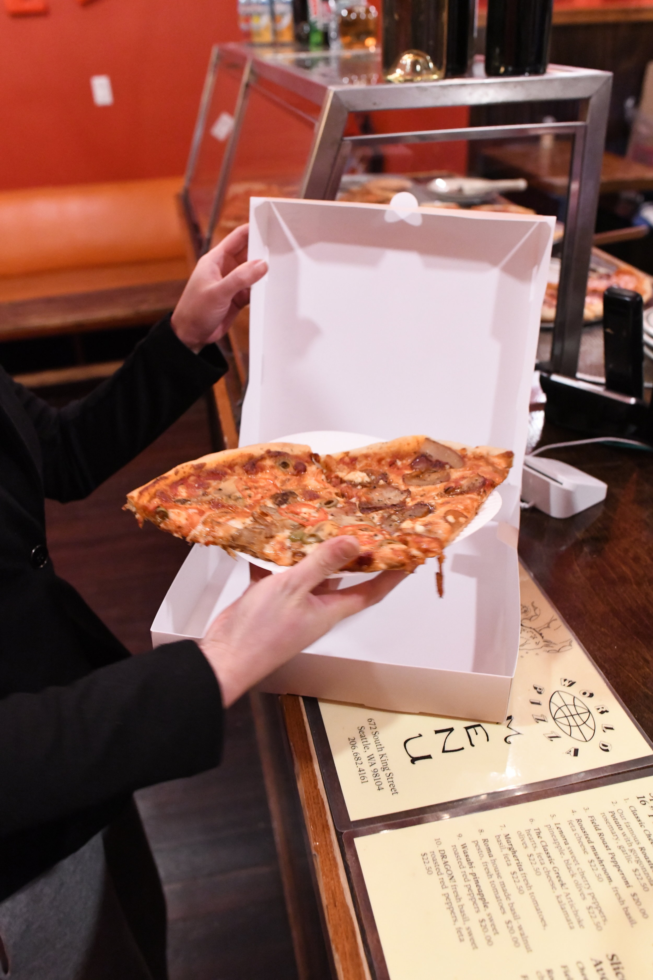 A beautiful sophisticated pizza box with elegance and class.
