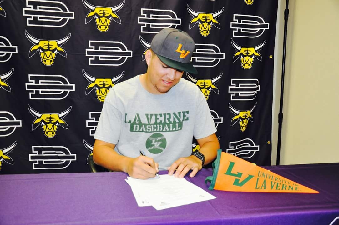 Christian Killian 2018 Catcher signing national letter of intent to play baseball at University of La Verne.