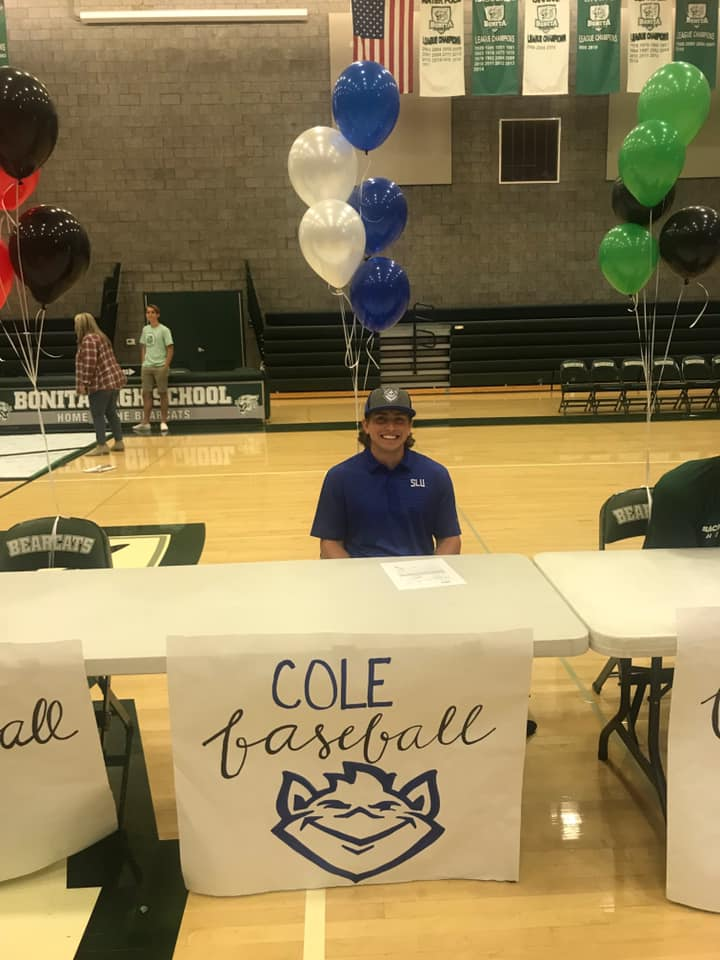 Cole Smith 2019 Outfielder signing national letter of intent to play baseball at St. Louis University.