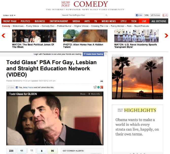 Huff Post Comedy: Todd Glass' PSA for Gay, Lesbian and Straight Education Network