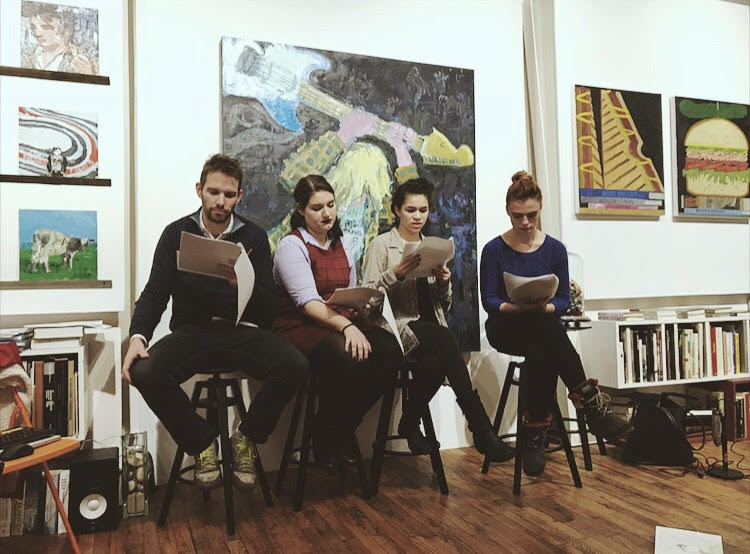 PHOTO: FLYNN OSMAN / BLENDED  Chase Hall, Shelby LenHart, Lita Lofton, and Nancy Pop doing a cold reading of JC Hopkin's  What's Wrong with Alfred?  Background artwork by Todd Bienvenu.