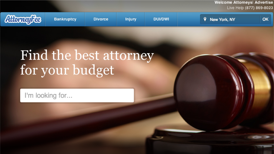 AttorneyFee.com circa 2012