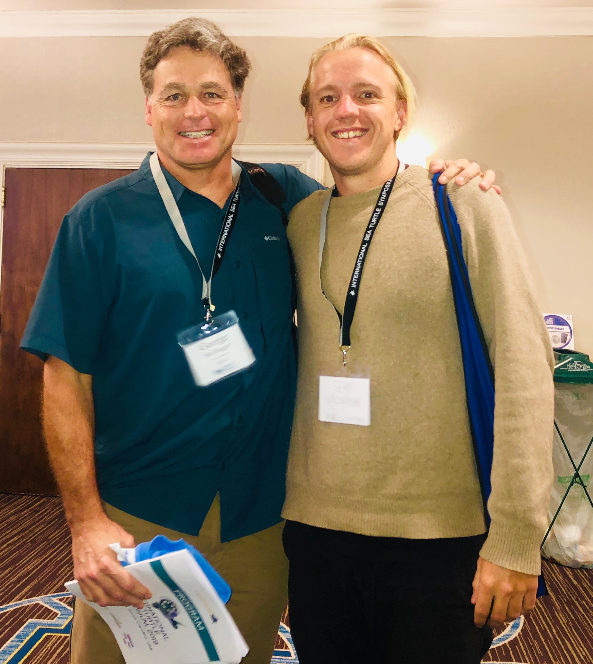 Upwell's Executive Director, George Shilinger, with Project Scientist, Sean Williamson, at the International Sea Turtle Symposium in February 2019.