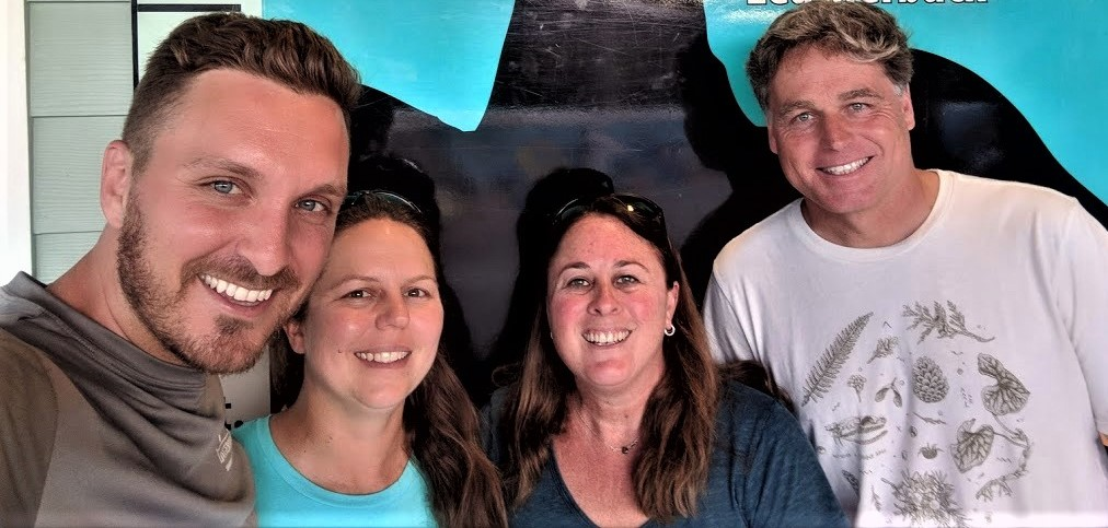 Core field team (left to right): Dr. Justin Perrault (Loggerhead Marinelife Center), Dr. Heather Liwanag (Cal Poly), Dr. Heather Harris (Upwell/NOAA), and Dr. George Shillinger (Upwell). (Photo: Heather Harris/Upwell).