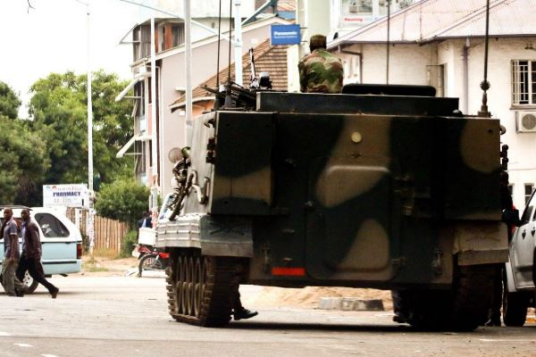 Military vehicles on the streets of the Zimbabwean capital this week. Credit: News24