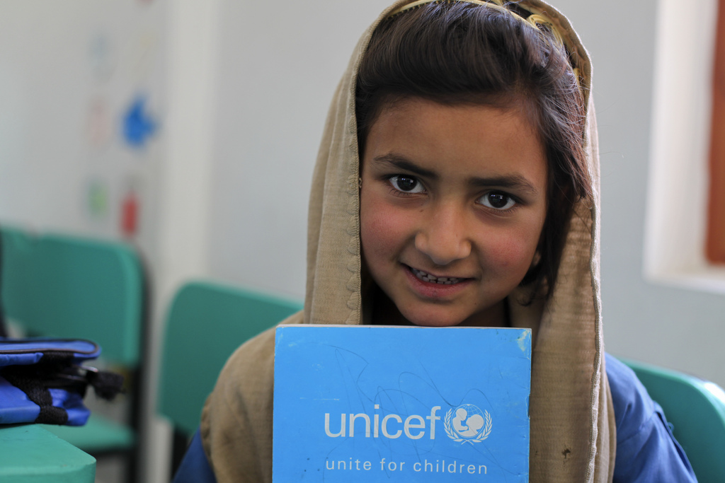 Bushra, 8, attends class at a UNICEF-constructed school in Gari Habibullah, Northwestern Pakistan. Credit: Asad Zaidi