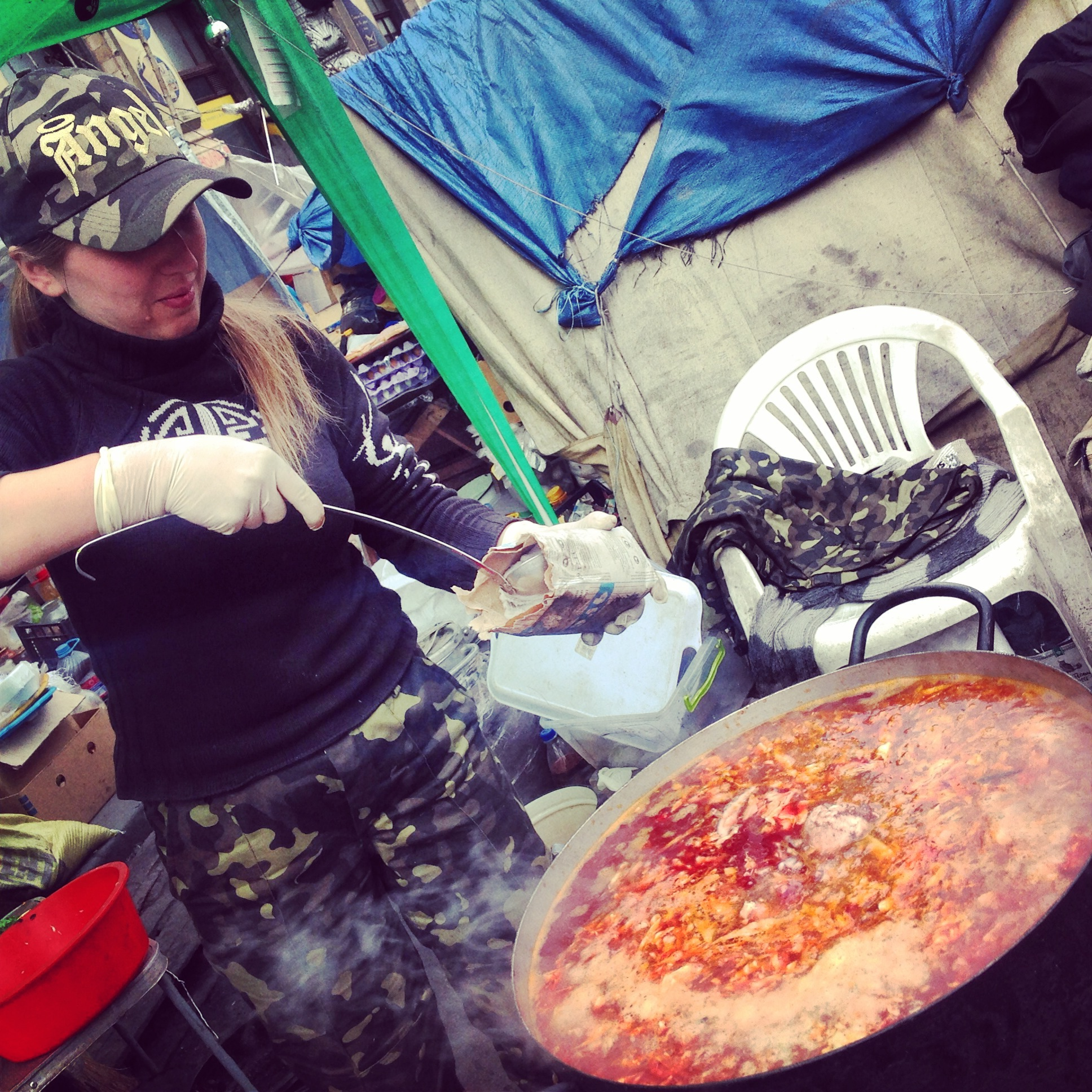 A volunteer makes borscht on the Maidan in 2014. Some are wondering whether discontent over the slow pace of reform might fuel a third Maidan. Photo: M. Bociurkiw