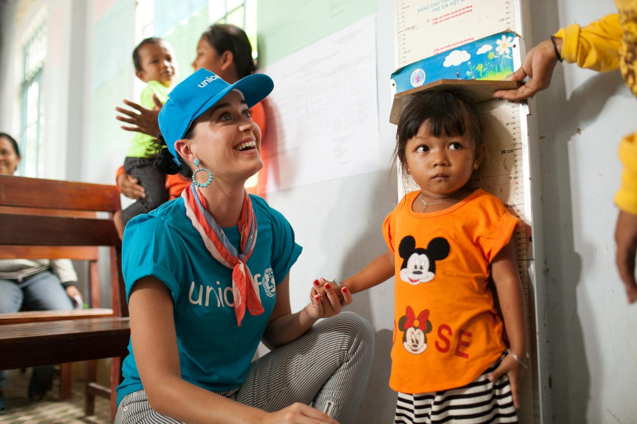 Global superstar Katy Perry received the Audrey Hepburn Humanitarian Award in 2016 for her work as a UNICEF Goodwill Ambassador. Credit: UNICEF USA