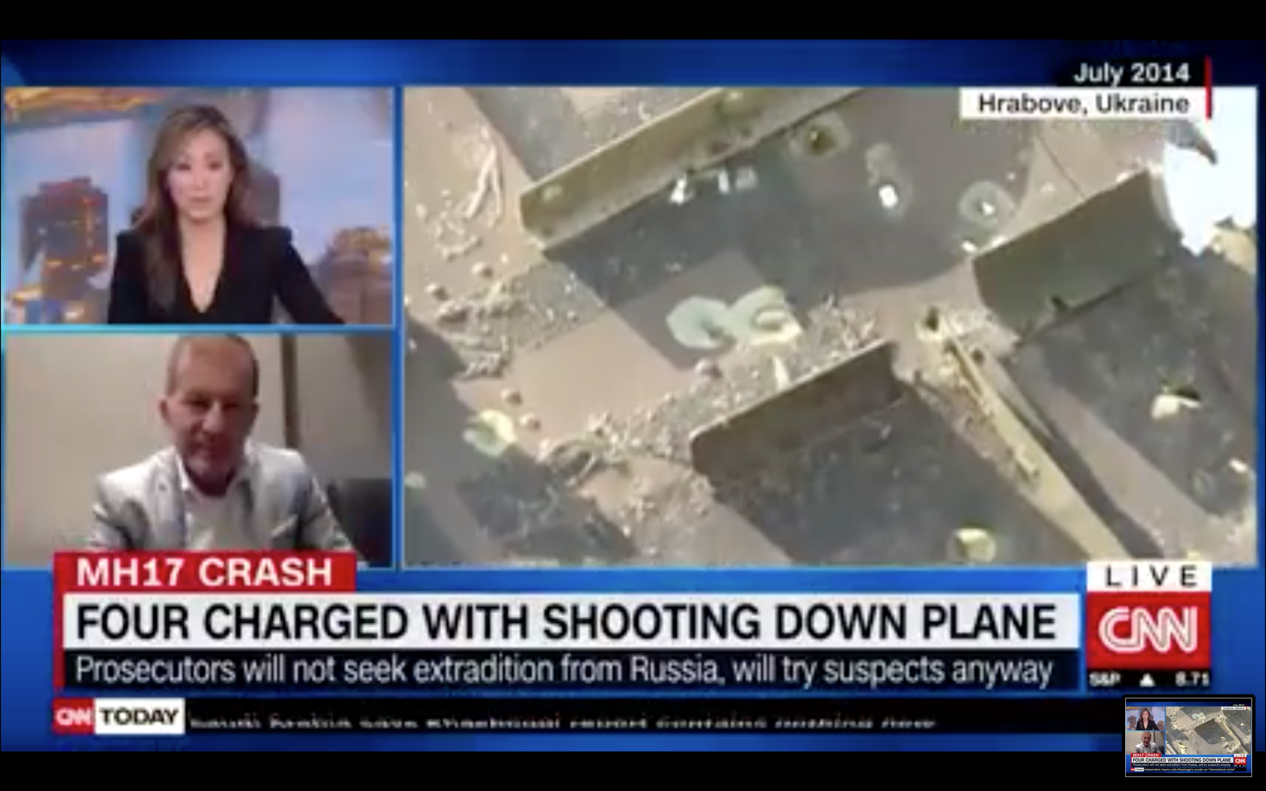 CNN International, June 19, 2019: I speak to Amara Walker about the breaking news of the Dutch-led investigation into MH17. Four suspects charged. Click   here