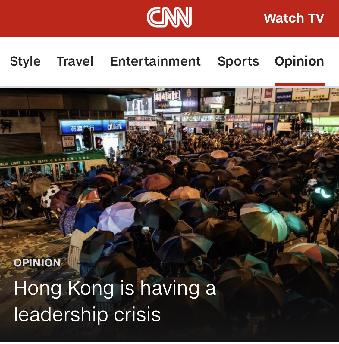 CNN Opinion, September 9, 2019. To read, click   here