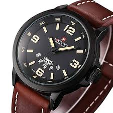 Wrist Watch with Leather Band