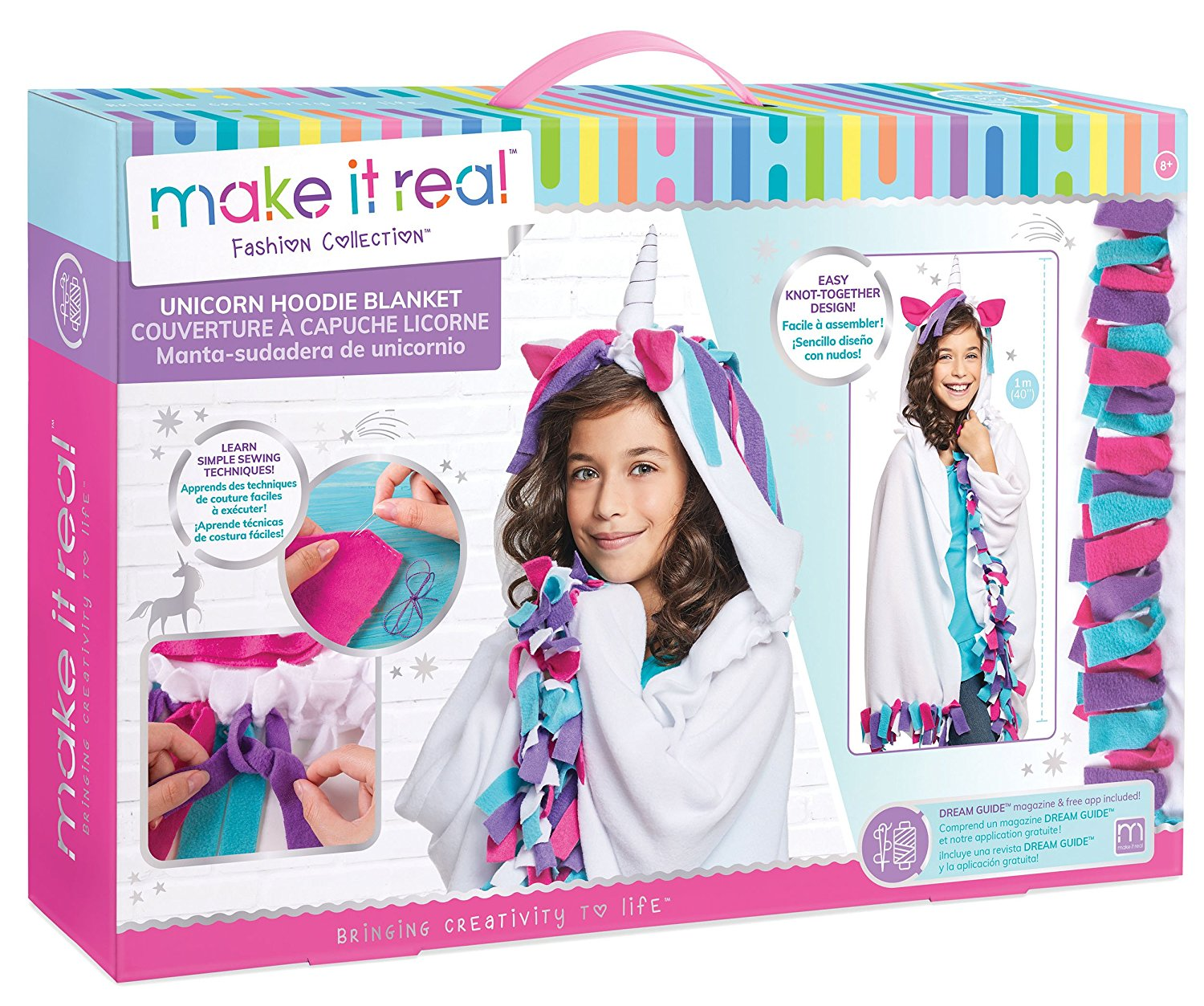 Make It Real Unicorn Hoodie Blanket. Wearable Unicorn Hooded Blanket Arts and Crafts Kit for Girls.