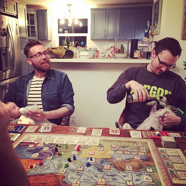 Family Game Night *****giggle******** . (CONCORDIA rocks pretty hard.) . . . . . #boardgames  #concordia #macgerdts #menatwork @pretzel_games