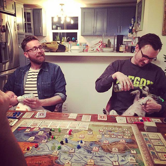 Family Game Night *****giggle******** . (CONCORDIA rocks pretty hard.) . . . . . #boardgames  #concordia #macgerdts #menatwork @pretzel_games