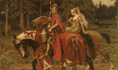 Test or Quest Medieval knight & lady