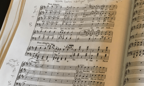 Beethoven's 9th symphony score close up