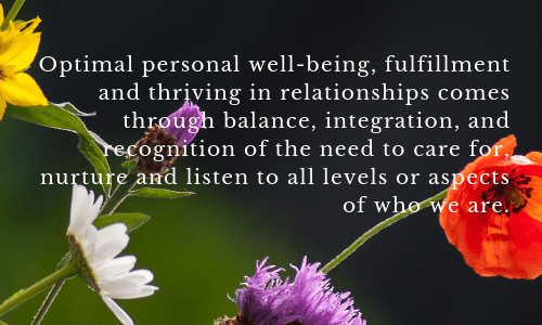 Optimal personal well-being and thriving in relationships comes through caring and nurturing all parts of ourselves.