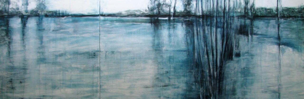 Cattai Wetlands - Yvonne Kiely - Mixed Media on canvas - 92x276cm (triptych) $3000.