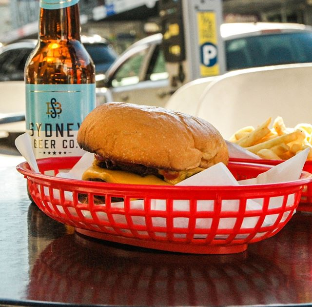 Stop by for a Sunday burger and beer 🍻⠀ ⠀ Relax at our sunny outdoor seating and enjoy the bustling Balmain atmosphere ☀️