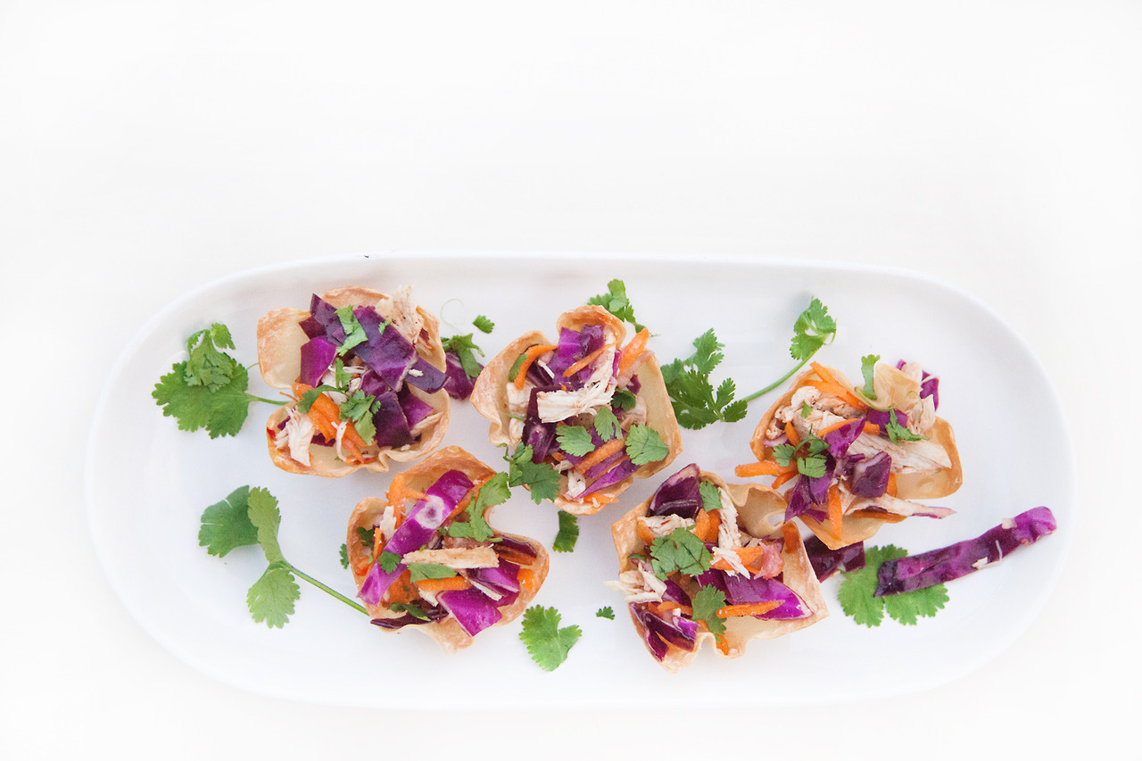 Chicken & Vegetable Salad in Baked Wonton Cups   Barre Fitness Blog - Recipe HERE