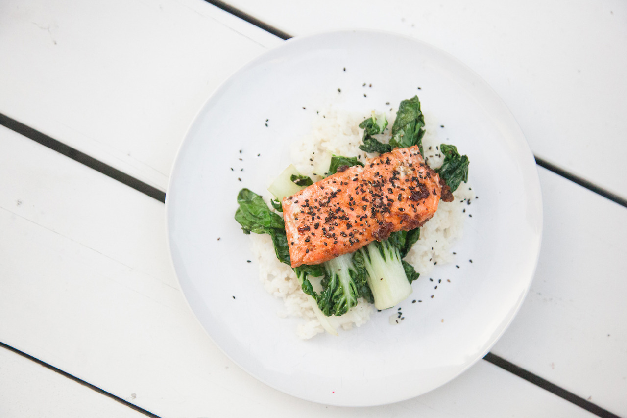 Miso Glazed Salmon with Sticky Rice and Bok Choy   Barre Fitness Blog - Recipe HERE