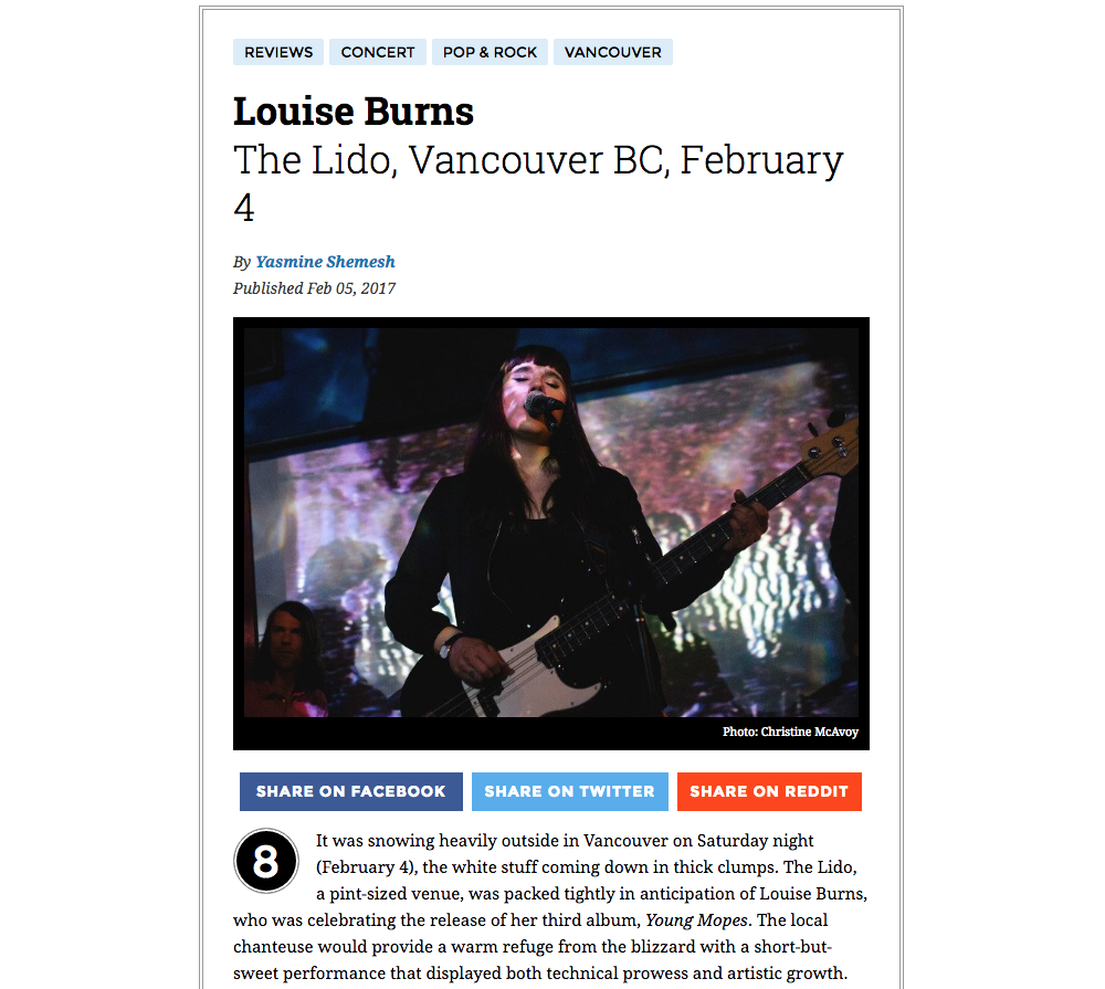 Louise Burns // The Lido February 4, 2017  For Exclaim.ca - Click here for full review.