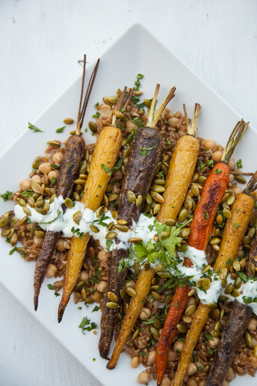 Roasted Heirloom Carrots with Chickpeas and Farro  for Barre Fitness (click for recipe)