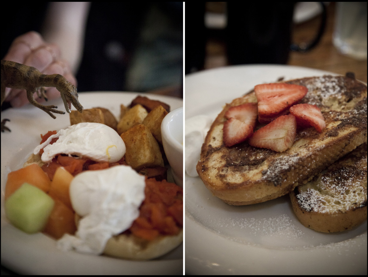 Here's my brunch blog…we went to The Whip and I had that french toast, which was AMAZING.   chorizoyourowneggventure :      The Whip  April 07, 2013 Smoked Salmon Eggs Benny; Stuffed French Toast  (we went to see Jurassic Park 3D after brunch)