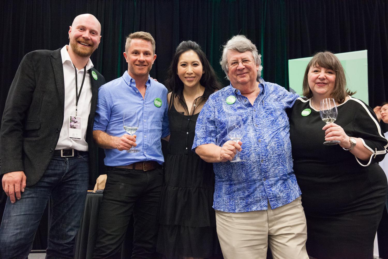 Chef Meets BC Judges (L to R): Sean Nelson, Rhys Pender, Mijune Pak, Tim Pawsey, Joanne Sasvari