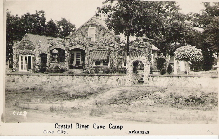 An original postcard of the Crystal River Cave Camp as it appeared in the 1930s.