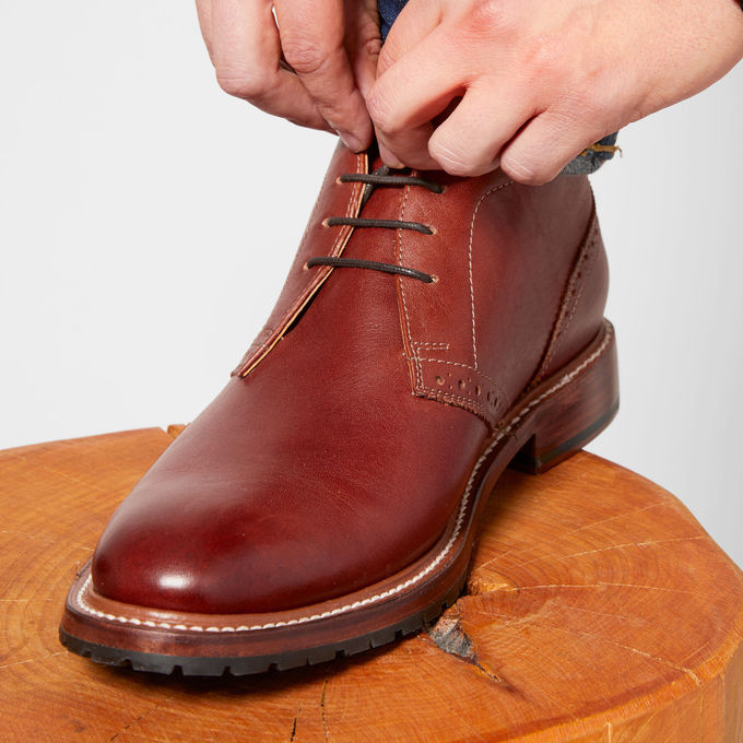 Elmhurst - This boot is so classic. We both LOVE the brick color. I think it would pair great with a navy pair of chinos in Italy! The leather combined with the little details of this shoe makes for a show stopper!