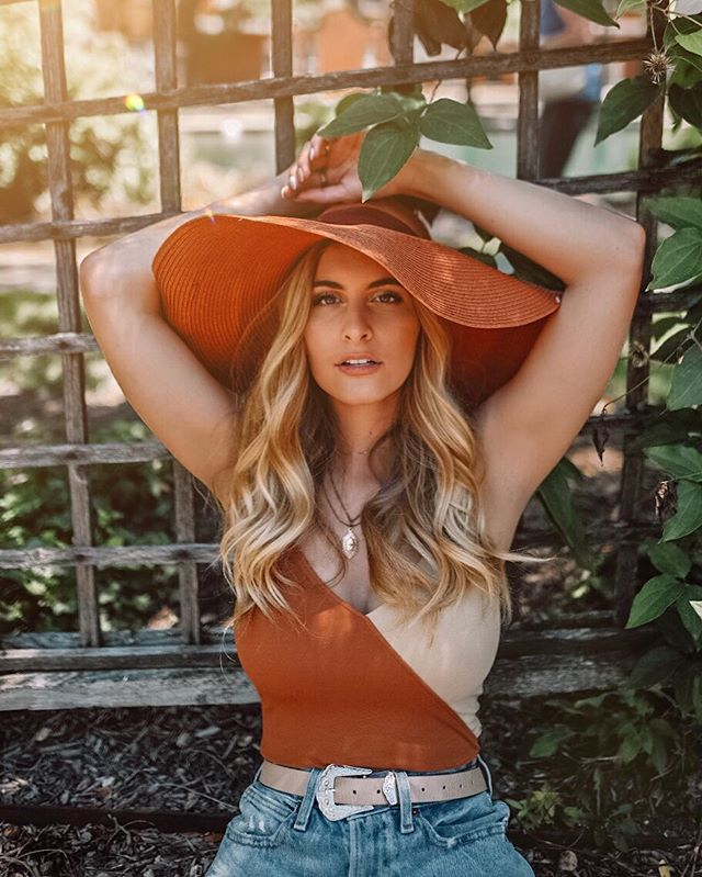 Wild thang 🍃 A little golden hour glow going on over here🌞 So obsessed with how this set of photos turned out!! Always love getting creative with new angles and poses for shots!  Wearing @andotherstories color block body suit and hat! Full outfit linked on the LIKEtoKNOW.it app! Just search my name to shop my looks! http://liketk.it/2CZKt #liketkit @liketoknow.it #LTKunder100
