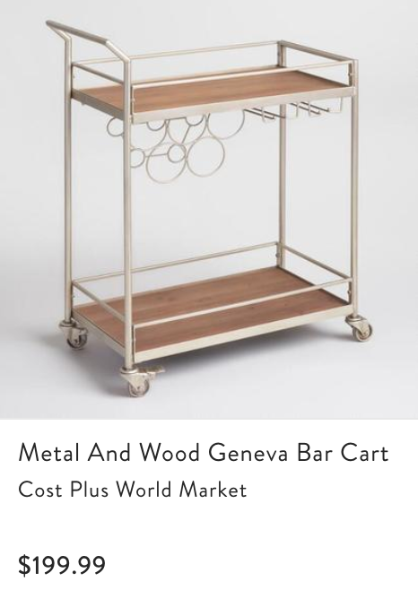 - Grant and I love to entertain, so we wanted to add something fun, modern, and trendy into our space that served a purpose! We chose this bar cart in particular because of it's quirky and fun look!