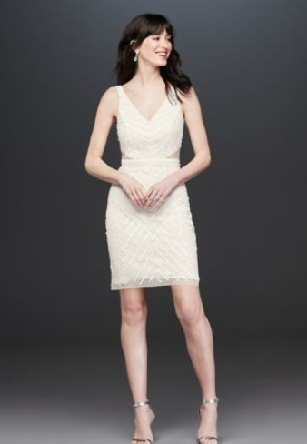 Tank Beaded Chevron Illusion Mini Dress - This dress is a tad bit more formal than the first. Everyone's weddings have different styles and I think this would pair perfectly for any event you are wanting a simple yet elegant look for!